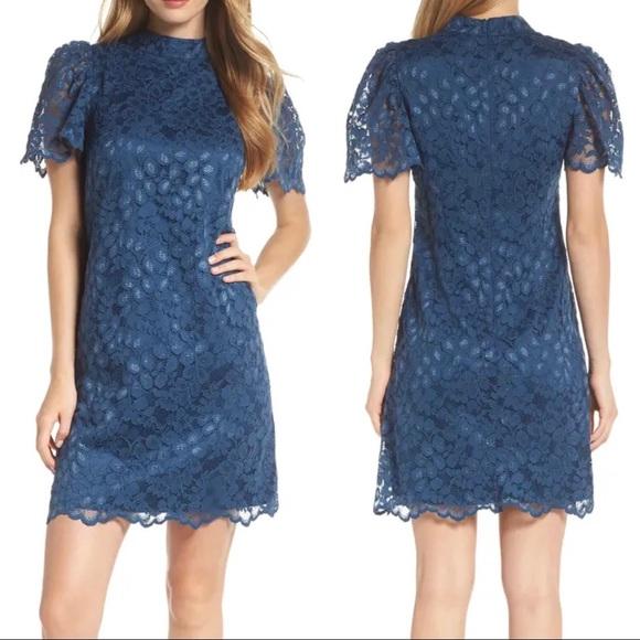 Eliza J Lace A-Line Dress Flutter Sleeves Mini